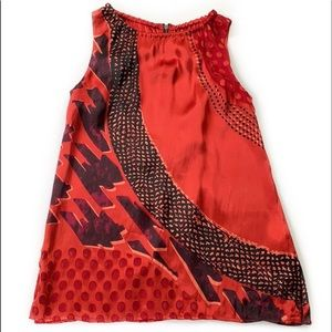 Cabi #154  Red Patterned Sleeveless Tank Small New